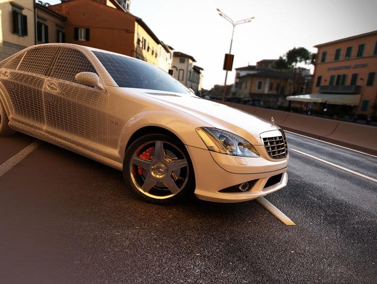 ????????????? ? ???????????? ?????????? Mercedes S500 (???????? ?500). 3D ?????????????, ????????????, 3D ???????????. ????????? ???????????